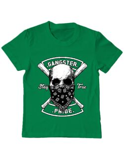 Tricou ADLER copil Gangster skull Verde mediu