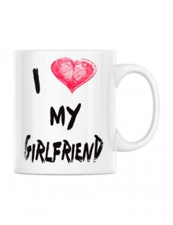 Cana personalizata I love my girlfriend Alb