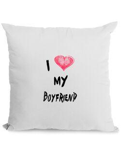 Perna personalizata I love my boyfriend Alb