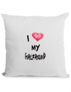Perna personalizata I love my girlfriend Alb
