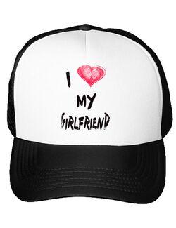 Sapca personalizata I love my girlfriend Alb