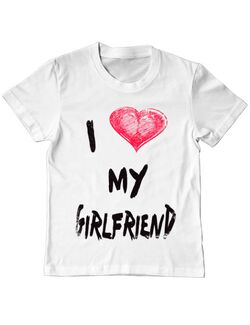 Tricou ADLER copil I love my girlfriend Alb