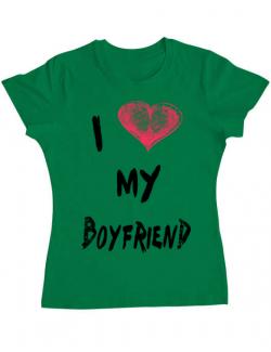 Tricou ADLER dama I love my boyfriend Verde mediu