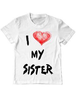 Tricou ADLER copil I love my sister Alb
