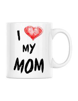 Cana personalizata I love my mom Alb