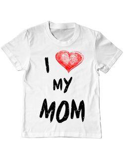Tricou ADLER copil I love my mom Alb