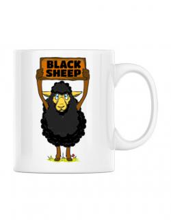 Cana personalizata Black sheep Alb