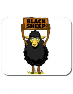 Mousepad personalizat Black sheep Alb