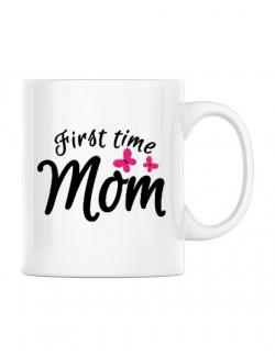 Cana personalizata First time mom Alb
