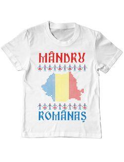 Tricou ADLER copil Mandru romanas Alb