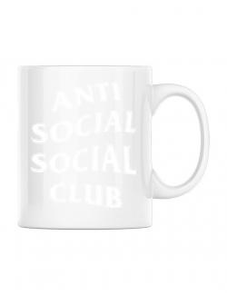Cana personalizata Anti social Alb