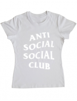 Tricou ADLER dama Anti social Alb
