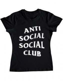 Tricou ADLER dama Anti social Negru