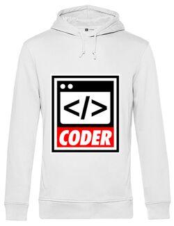 Hoodie barbat cu gluga Coder Alb