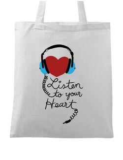 Sacosa din panza Listen to your heart Alb