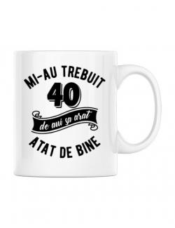 Cana personalizata 40 de ani Alb