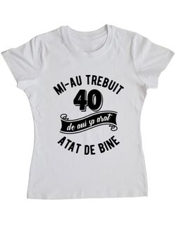 Tricou ADLER dama 40 de ani Alb
