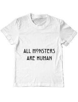 Tricou ADLER copil All monsters are human Alb