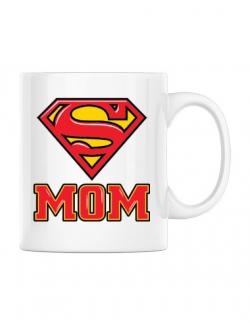 Cana personalizata Super mom Alb