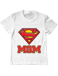 Tricou ADLER copil Super mom Alb