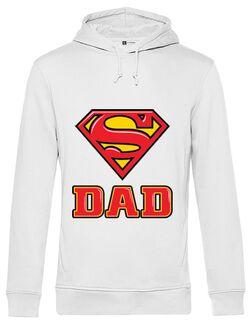 Hoodie barbat cu gluga Super Dad Alb