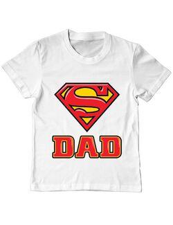 Tricou ADLER copil Super Dad Alb