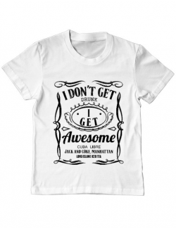 Tricou ADLER copil I get awesome Alb