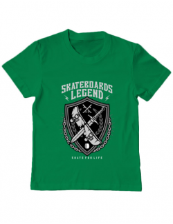 Tricou ADLER copil Skateboards Legend Verde mediu