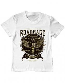 Tricou ADLER copil Road Rage Alb