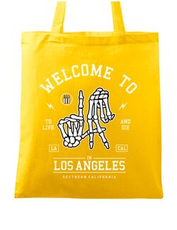 Sacosa din panza Welcome To L.A Galben