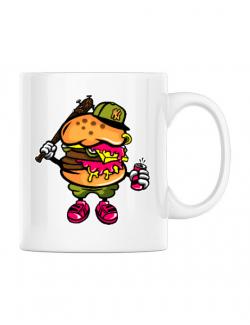 Cana personalizata Bastard burger Alb