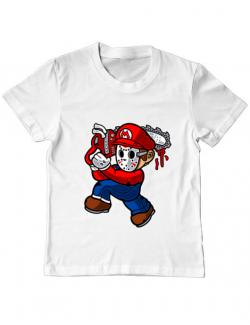 Tricou ADLER copil Mario Massacre Alb