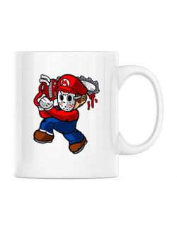 Cana personalizata Mario Massacre Alb