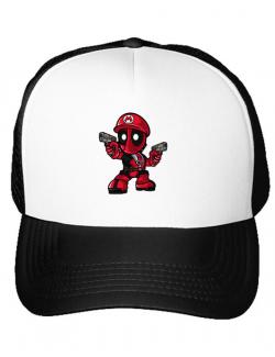 Sapca personalizata Mario Deadpool Alb