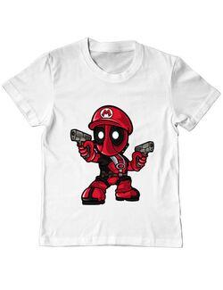 Tricou ADLER copil Mario Deadpool Alb