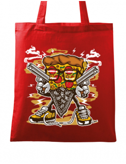 Sacosa din panza Pizza Gangster Rosu