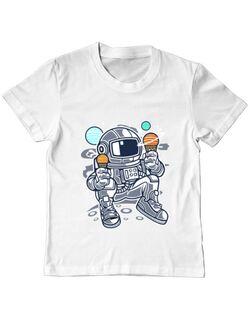 Tricou ADLER copil Astronaut Ice Cream Alb