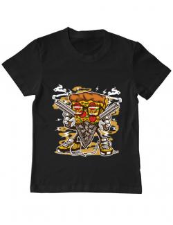Tricou ADLER copil Pizza Gangster Negru