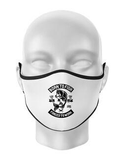 Masca personalizata reutilizabila Born To Fish Alb