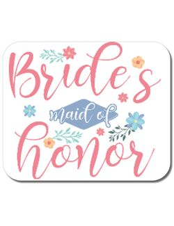 Mousepad personalizat Brides maid of honor Alb