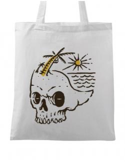 Sacosa din panza Skull Island Alb