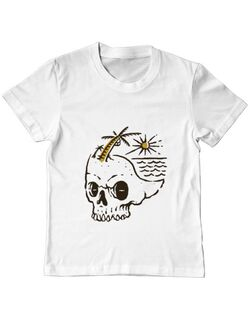 Tricou ADLER copil Skull Island Alb