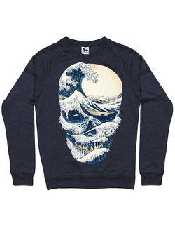 Bluza ADLER barbat The Great Wave off Skull Denim inchis