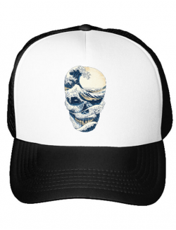Sapca personalizata The Great Wave off Skull Alb