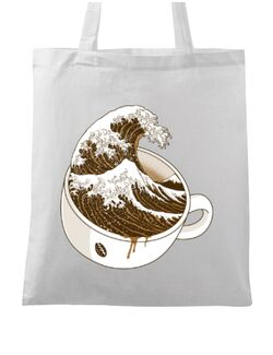 Sacosa din panza The Great Wave off Coffee Alb