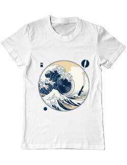 Tricou ADLER barbat The Great Wave off Sound Alb