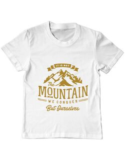 Tricou ADLER copil Its not the mountain we conquer Alb