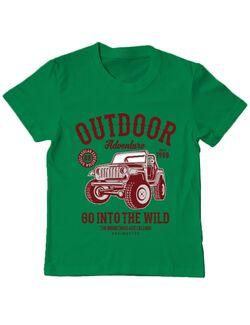 Tricou ADLER copil Outdoor Adventure Verde mediu