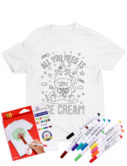 Tricou de colorat All you need is ice cream SET