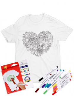 Tricou de colorat Floral heart SET